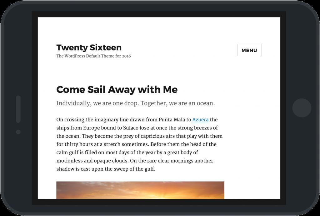WordPress 4.4 Clifford New Twenty Sixteen Theme