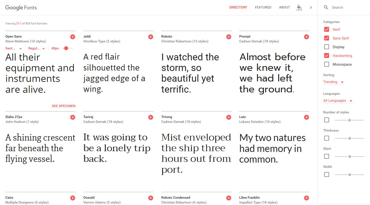 Google Fonts Directory New Website Redesign - Now More Intuitive