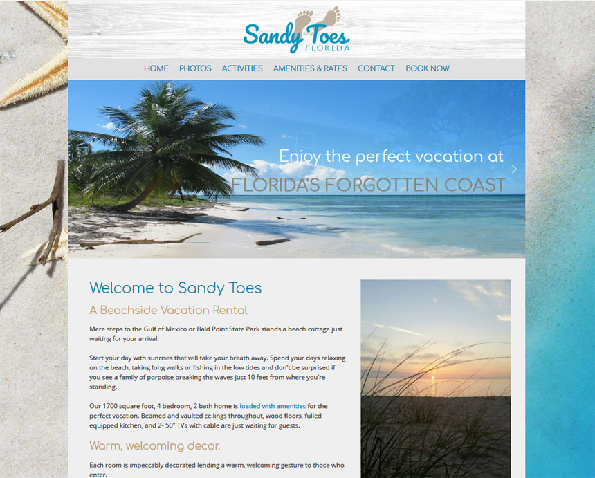 Sandy Toes Accommodations Tourism Web Design Bright Green Path - 10 steps to a perfect vacation